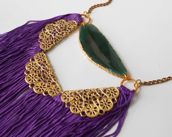 Green Agate Necklace Bohemian Fringe Necklace Purple Statement Necklace Purple and Teal and Gold Violet Necklace Long Fringe Necklace Boho