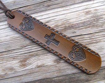 Leather Bible Bookmark Celtic Book Mark Religious Cross Genuine Leather Book Mark Hand Made Baptism Communion Gifts Custom made in 7 Colors!