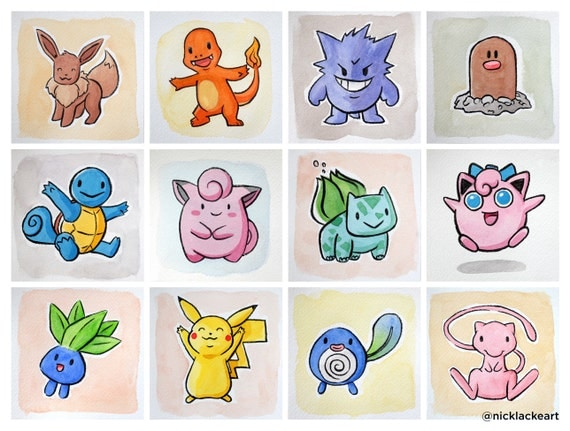 "Pokemon GO Gouache, 4x4"" watercolor paintings of Pokemon Go, Pokemon Art, Pikachu, Bulbasaur, Jigglypuff, Clefairy, Squirtle, Charmander"