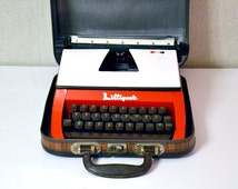 Vintage LILLIPUT typewriter / portable typewriter made in England / red typewriter