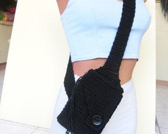 Women's sports bag, black pouch, hands free bag, cotton bag, black bag, Woman bag, walk bag, children's bag, teen bag, Valentines gift