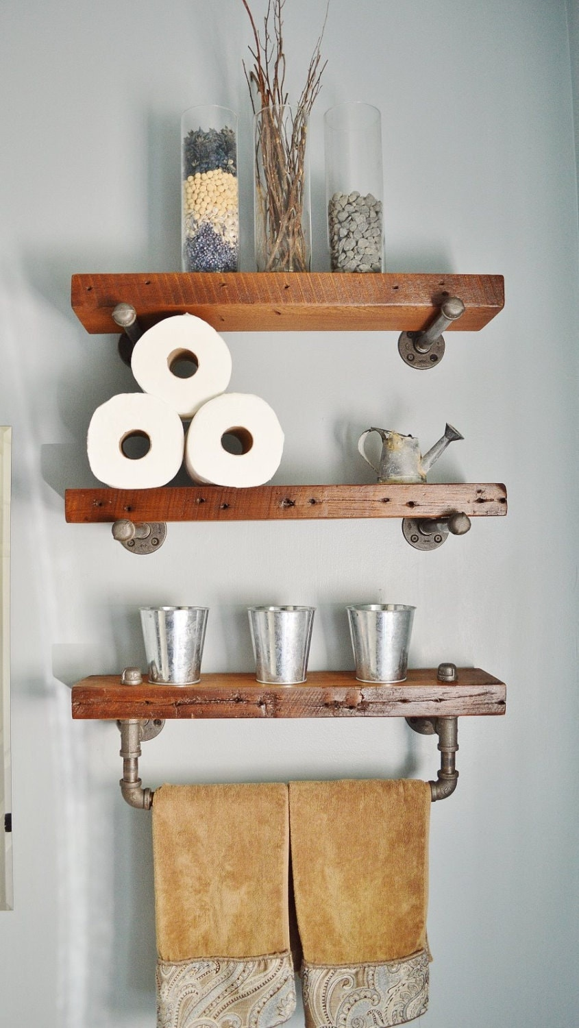 Stained Reclaimed Barn Wood Bathroom Shelves
