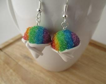 Rainbow Snow Cone Earrings, Handmade Polymer Clay Kawaii