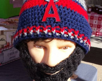 Anahiem Angels Bearded Beanie, Customize AnySizeAnyColor,MLB Anaheim Angels Embroidered Patch,Velcro4PerfectFit,GreatGift Idea,CheckAll5Pics