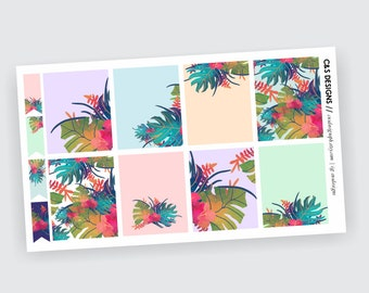 Tropical Full Box Planner Stickers | ECLP Full Box Stickers for your Vertical Planner | Tropical Paradise, Pastels, Tropical Leaves