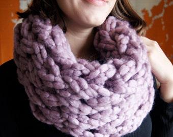 Lilac Chunky Knit Infinity Scarf
