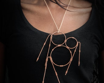 Gorgeous Art Deco Necklace, Handmade Copper Wire Wrapped and Leather Thong Pendant, Vintage Inspired Statement Necklace