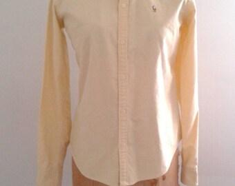 Vintage Ralph Lauren Pale Yellow Oxford Cotton Button Up Shirt Sz 6 Slim Fit WASP Preppy