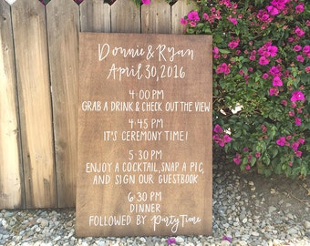 Wood Wedding Welcome Sign // Wedding Timeline // Wooden Welcome Sign