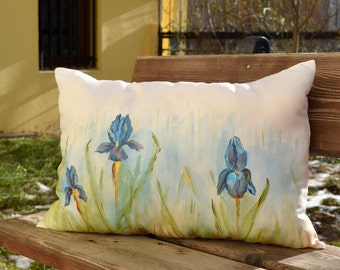 Iris Decorative Pillow with Acrylic Painting, Throw Pillows, Outdoor Pillows, Cushion, Decorative Pillow, Insert Included