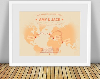 Personalised World Map, Custom World Map, Travel Map, World Map Print, Map Of The World, Wedding 1st Anniversary Gift, 40th Birthday Gift
