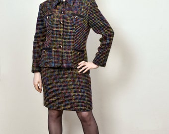 Medium Chic 80s Wool Mix Black and Multicolored Check Skirt Suit