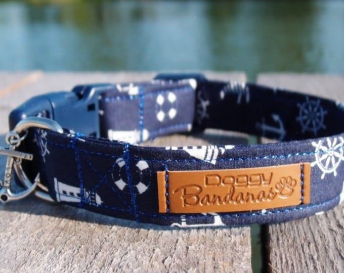 Nautical Dog Collar Preppy Boy Dog Collar Summer Ocean Dog Collar Beach Navy Dog Collar Sailor Anchor Dog Collar Cute Sea Dog Collar Boat
