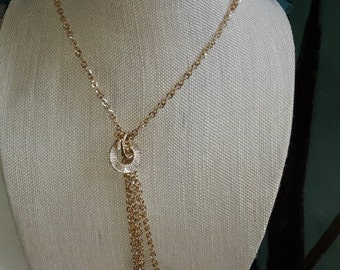 Dew drops of gold squares tassel necklace