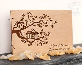 Custom Wedding Guest Book, Wood Rustic wedding guest book, Just Married Book, Owls Laser Engraved, Custom Wedding Album, Gift for Couple