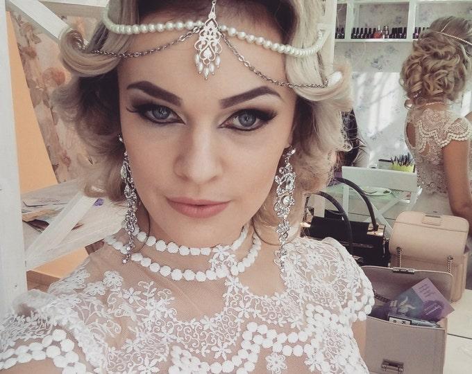 Wedding Indian Maang Tikka~ Bohemian headpiece~Bridal Silver accessories~Gold Hair Chain~Boho head Piece~1920s Gatsby~Fashion