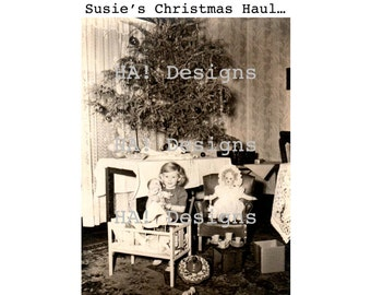 Vintage Photo - Susie's Christmas Haul - INSTANT DOWNLOAD