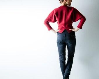 Winter Jacket, Red jacket, Wool coat, Dolman coat, Shrug, Cardigan, Women jacket, batwing top, Womens coat, Maternity clothes, Shrug, Bolero