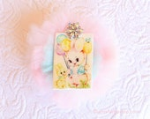Bunnies Balloons Pastel Rhinestone Tulle Brooch Pin Sweet Glitter Sparkle Tulle Jewelry Child Adults Kitsch