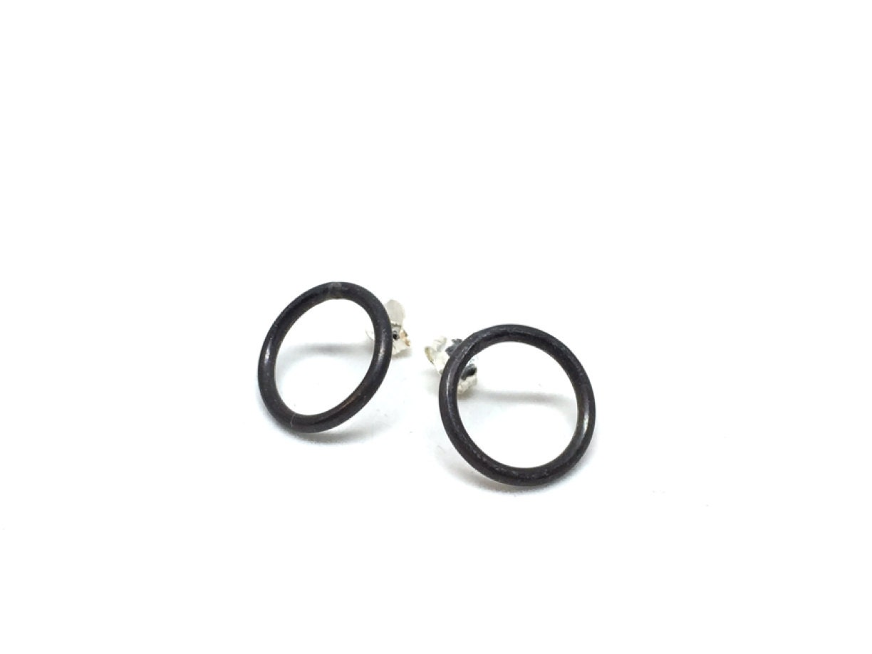 oxidized black circle stud earrings small studs silver