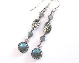 Labradorite Earrings, Fine Silver Fish Scale Pattern, Long Dangle Gemstone Earrings, One of a Kind, Mermaid Earrings