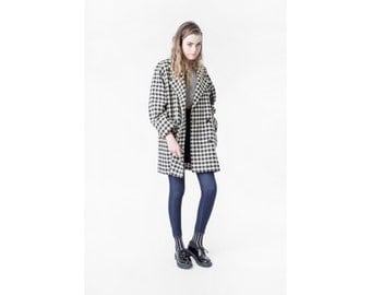 WOOL HOUNDSTOOTH coat Jacket black white cream vintage winter Medium / better Stay together