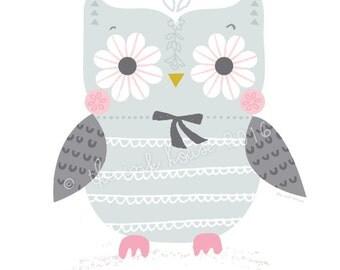 OWL PRINT, Illustration, wall art, pink owl design, baby's room decor, owl nursery, owl design, girl, art prints, woodland, pink and gray