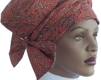 Satin Lined Nabru™ Turban Hat Hair Wrap Hat Cotton African Hat Head Wrap Hat Turban Rust Black Pink Blue Handmade