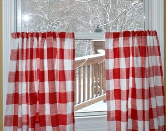 Red Gingham Curtains Etsy