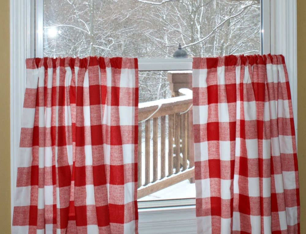 Red Check Cafe Curtains Buffalo Check Premier Prints