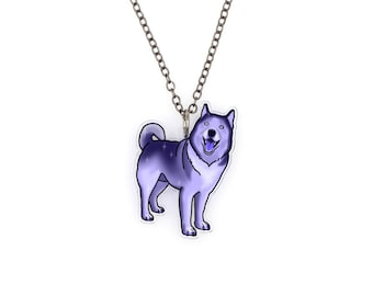 CLEARANCE SALE Regularily 14.95 - Husky / Malamute in Night Sky Watercolor Splash Tattoo Necklace