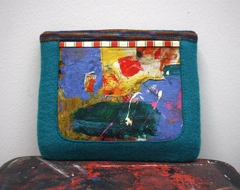 PBC2 Unique hand felted wool book case with screen printed canvas pocket by XOproject unique and one of a kind