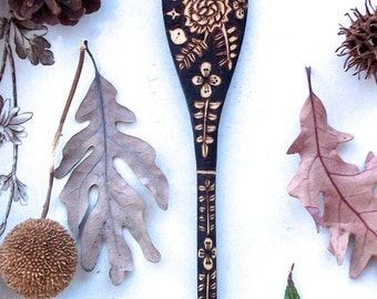 custom 10 inch wooden flower bird fern spoon-woodburned up cycled spoon-hostess-5th anniversary -foodie gift