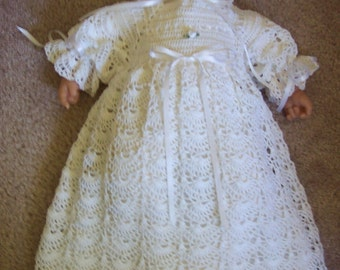 Handmade Christening gown, Baptism, Blessing Gown with Bonnet Booties and Under Slip for baby.Ready To Ship