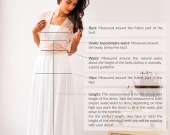 "How-to-measure guide for your GALA ""made-to-measure"" dress, Mimètik Bcn"