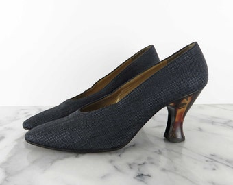 YSL Yves Saint Laurent Lucite Heel Pumps Dark Blue Fabric Heels Parisian Brown Heel 9 M Vintage