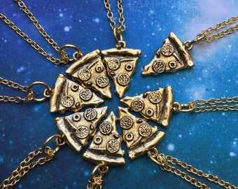 """Gold Pizza Necklace, 18"""" THIN chain, Friendship slice necklace"""