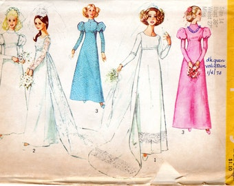 1970s Bridesmaid Wedding Dress - Vintage Pattern Simplicity 8575 - Bust 36 UNCUT FF