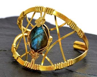 Labradorite Bracelet, Statement Bracelet, Gold Cuff Bracelet, Wire Wrap Bracelet, Gemstone Bracelet, Wide Bracelet, Statement Gold Cuff