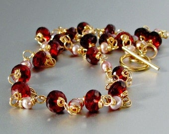 18k Solid Gold Hand Linked Garnet Necklace