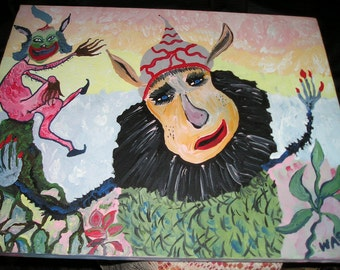 Funky,Crude Brute/Whimsical OutsiderArt Creepy Devil/Demon and Fairy in Distress Primitive Oil on Canvas..