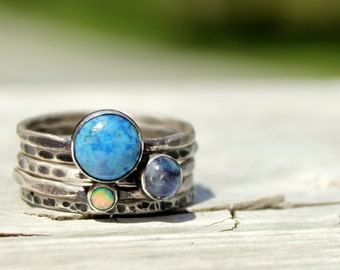 Gemstone Stack Ring Set - Denim Lapis Lazuli Ring, Rainbow Moonstone Ring, Opal Ring - Cabochon Stack Rings - Sterling Silver Stack