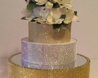 """Gold Bling Cake Stand 18"""" Round Cake Stand with a Mirrored top. (With or without rhinestones on the top)"""
