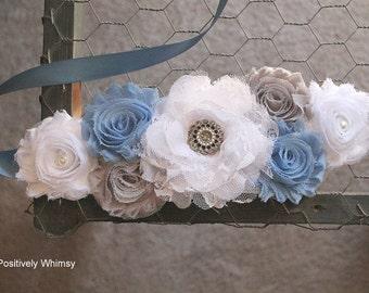Maternity Sash, Baby Boy Maternity Sash, Blue Maternity Sash, Flower Sash, Vintage Sash, RTS, Blue White Grey, Antique Blue, Dusty Blue