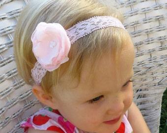 Light Pink Headband Flowers, Pink Flower Headband Baby, Lace Headband Baby, Flower Head Band, Flower Headband Toddler, Pink Flowers
