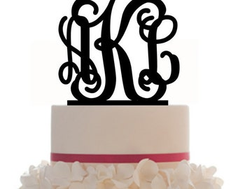 Custom Wedding Monogram Personalized Cake Topper with your choice of color and a FREE base for display