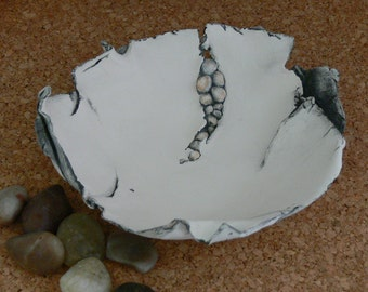Freeform Porcelain Vessel In Riverbed Design Handmade