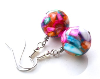 Multicolor Mother of Pearl Drops . Earrings