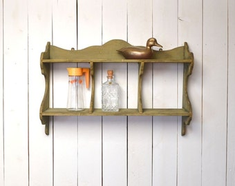 Primitive Wood Wall Shelf Large Green Chippy Paint Antique Early 1900s Vintage Rustic Decor