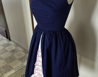 Vintage 50s navy patriotic french dress with underskirt XS